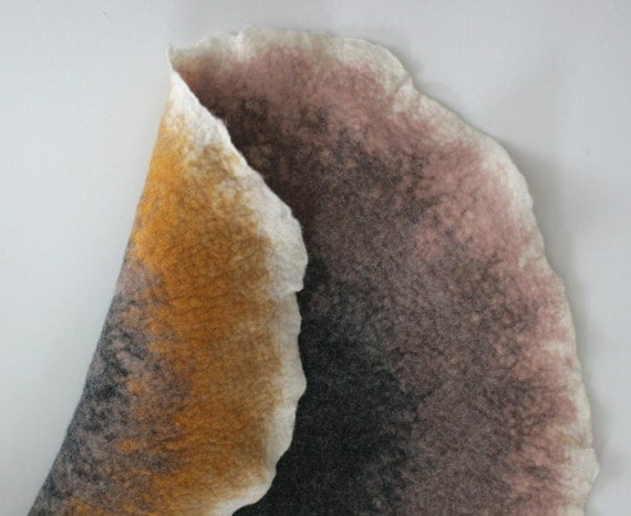 Two sided Mat / Rug /  Pad - Hand Felted Wool - Sand Color Circle - Crisp Contemporary Design