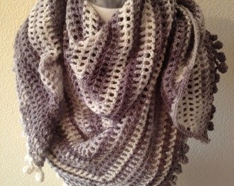 Crochet Gray/Grey Multi Shawl-Fichu-Scarf-Wrap-Ready to Ship-Cruisewear-Promwear-Evening Wear