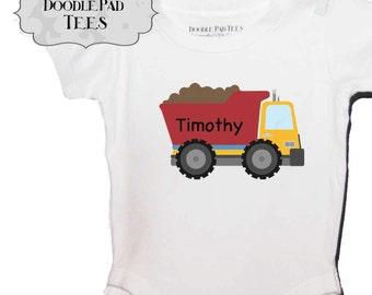 Dump Truck Tshirt or Bodysuit Personalized