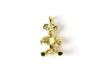 Small Vintage Gold Plated Teddy Bear Charms (8X) (V427)