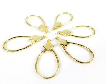 Vintage Gold Plated Diamond Teardrop Hoop Charms (8X) (V388)