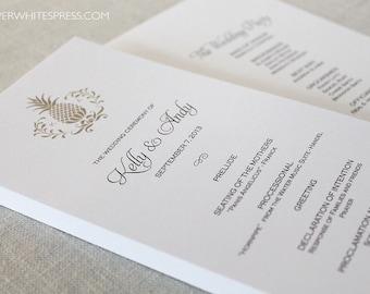Pineapple Wedding Program, Pineapple Ceremony Program, Hawaii Wedding Program, Hawaiian Wedding Programs, Destination Wedding Programs