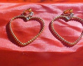 Gold Heart Earrings - Large -  Rhinestones - New in Box - Avon - Old stock - Very Pretty!
