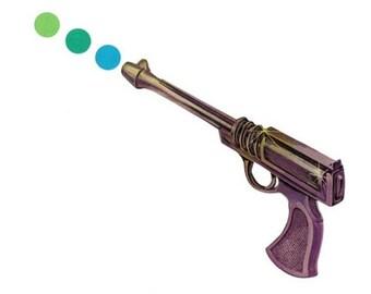 Pop Gun Art, Original Art Collage, Colorful Minimal Artwork, Gun Wall Art, Geeky Gift for Him, Masculine Wall Art, Retro Toy Gun Artwork