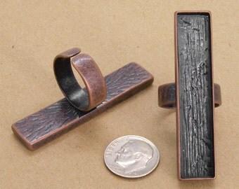 10pcs 12x53mm  antique copper  Pewter blank bezel rectangle ring