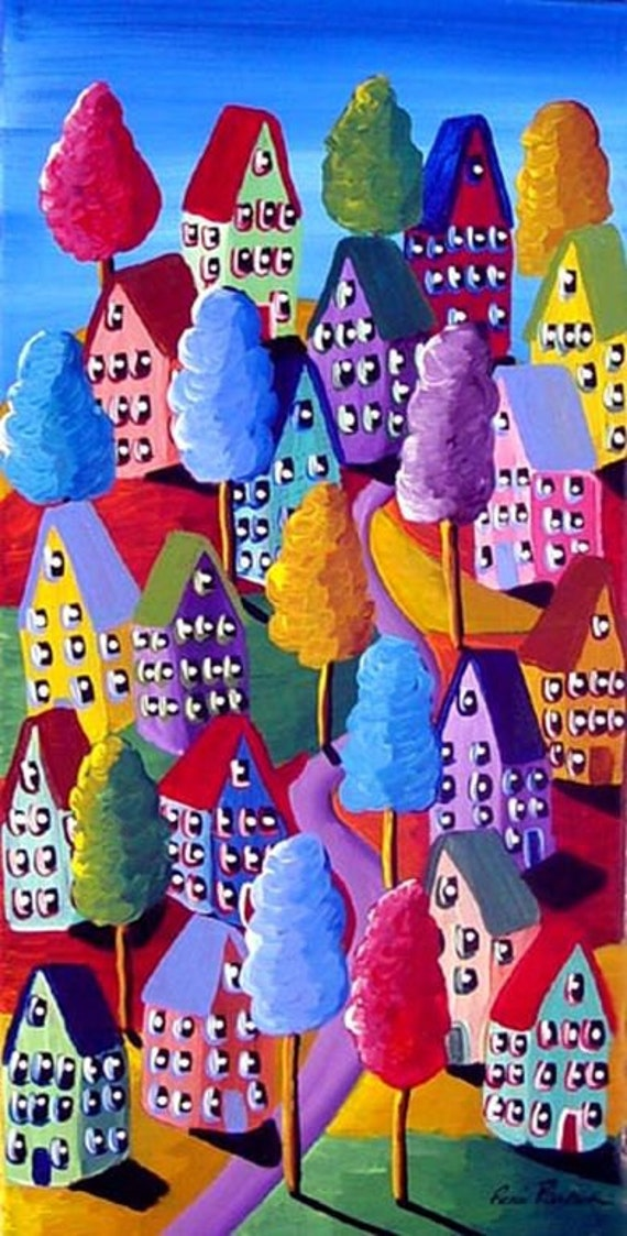 Colorful hills trees houses fun whimsical by reniebritenbucher for Colorful tree house