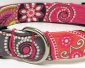 Pink, Grey, Lime Green & Purple Large Paisley/Floral Print Handmade Dog Collar