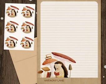 Personalized Stationery - Mini Letter Writing Set - Bookish Forest Hedgehog- Stationery Set woodland animal hedgie