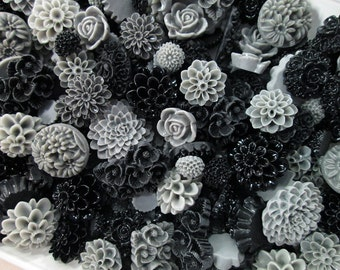 25pc. Black and Grey flower cabochon mix,  cute grab bag of roses, mums etc...