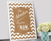 "Printable Kraft Paper Art - Typography ""The Adventure Begins Now.""  Motivational Quote Instant Download Digital Download"