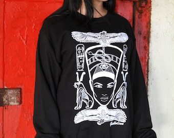 Nefertiti Egypt  Bird Black White Screen Print Sweatshirt