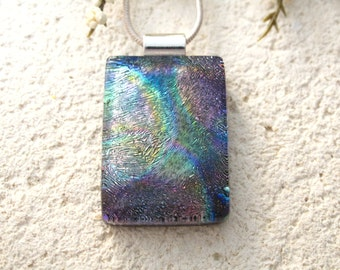 Purple Gold Necklace, Fused Glass Jewelry, Dichroic Necklace, Dichroic Pendant,  Dichroic Jewelry, Rainbow Necklace, ccvalenzo, 090517p100