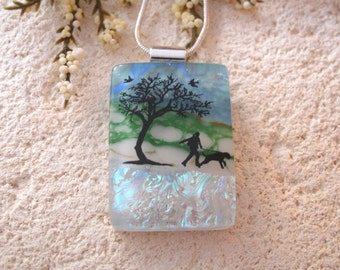 Dog Necklace, Dichroic Glass Jewelry, Dichroic Pendant, Dog In Park, Fused Dichroic Glass Jewelry, Necklace, Glass Jewelry 031815p100