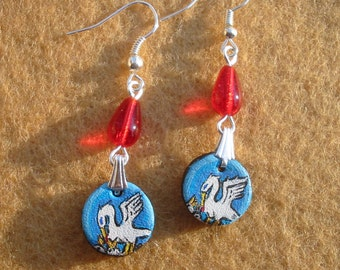 SCA Order of the Pelican handpainted leather dangle earrings