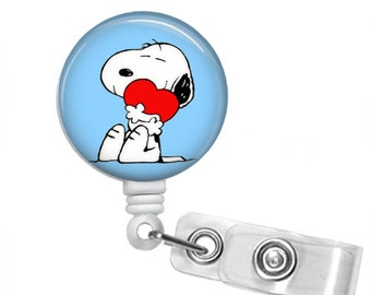 Choose Your Color I HEART SNOOPY Retractable Badge Reel