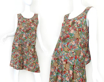 Vintage 90s Split Skirt and Sleeveless Top Set - Size Medium - Colorful Red and Blue Floral Print Soft Grunge Dress High Waisted Shorts Tank