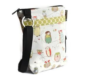 Hip Zip Purse - Cell Phone pocket inside and slip pocket outside - Cross Body Bag - Borsa Bella - Owls Fabric