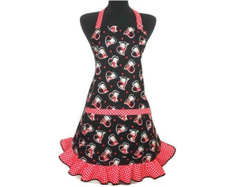 Betty Boop Apron with pocket and retro style ruffle, black with hearts and white on red polka dot trim / Pin Up Girl Kitchen Decor