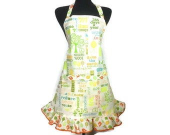Environmental Sayings Apron for women, Retro Style Ruffle with pocket, Activist / Vegan / Vegetarian Chef