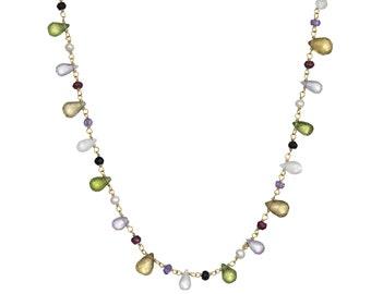 "Multi-gemstone Necklace in 14k GF. Garnet, Peridot, Moonstone, Amethyst, Pearl, Spinel. Long, 36-38"""