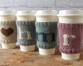 Coffee Cozy, Knit Coffee Sleeve, Cup Cozy, Teacher Gift, Grad Gift, Bridesmaid Gift, Monogram Coffee Cozy, Stocking Stuffer, Hostess Gift