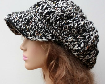 Newsboy hat, Black White Tweed Visor Tam Hat Slouchy Beanie NEWSBOY cap men women