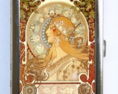 Art Nouveau Goddess Mucha #2 Cigarette Case id case Wallet Business Card Holder zodiac signs
