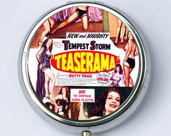 Teaserama Burlesque Pill Case pillbox holder box pin up strip tease