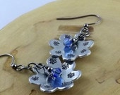 Sapphire Blue Swarovski crystal hand stamped aluminum flower gunmetal french hook earrings