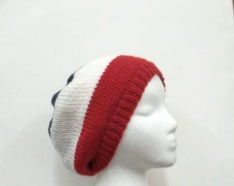 Knitted beanie, red white blue hat, slouchy beanie   5000