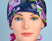 Surgical Scrub Hat or Chemo Cap- The Mini with Ribbon Ties- Zinnia Paisley