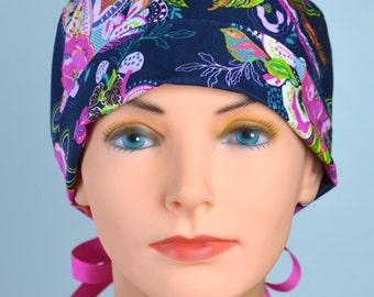 Scrub Hats // Scrub Caps // Scrub Hats for Women // The Mini // The Hat Cottage // Ribbon Ties // Zinnia Paisley