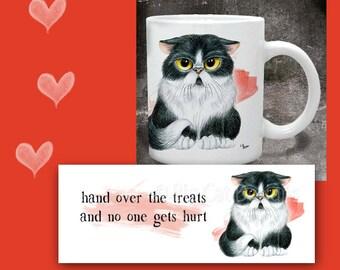 CAT MUG. Grumpy Cat says Hand over the Treats and No One Gets Hurt. Cat Coffee Mug