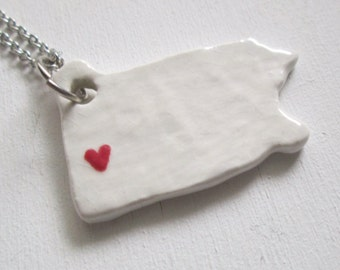 White and Red Pittsburgh Pennsylvania Necklace Glazed Ceramic on an 18 inch Silver Chain