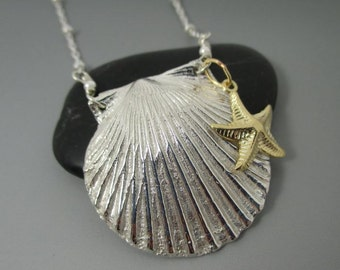 Fine Silver .999 Shell with 14kt Gold Filled Starfish Sterling Silver Necklace