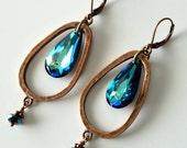 Bermuda Blue Crystal Drop Earrings, Long Earrings, Large Crystal Drop, Hammered Copper Hoops, Dangles,  Beaded Earrings, Beaded Jewelry