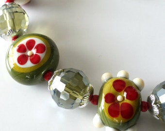 Lampwork Beaded Bracelet, Olive Green, Khaki, Red, Cream, Silver, Crystals, Flowers, Stripes and Dots,  Beaded Jewelry