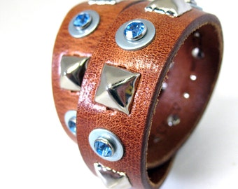 Caramel Brown Leather Dog Collar with Blue Gems and Silver Pyramid Studs, Size M/L, to fit a 16-19in Neck, EcoFriendly, OOAK