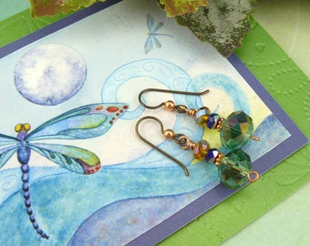 Earring Gift Card ~ Dragonfly Card ~ Dragonfly Art Card ~ Dragonfly Gift Card ~ Dragonfly Greeting Card ~Watercolor Dragonfly Card ~Earrings