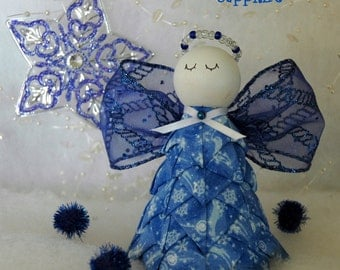 No Sew Quilted Fabric and Ribbon Angel Ornament - Sapphire