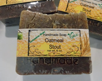 Oatmeal Stout Handmade Soap Cold Process Exfoliant Bar with Hops