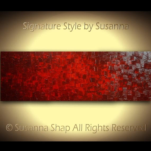 Original Deep Red Large Abstract Oil Painting By
