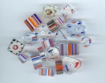 Red, White and Blue Mixed Color Cane Glass Beads Mixed sizes and shapes 523