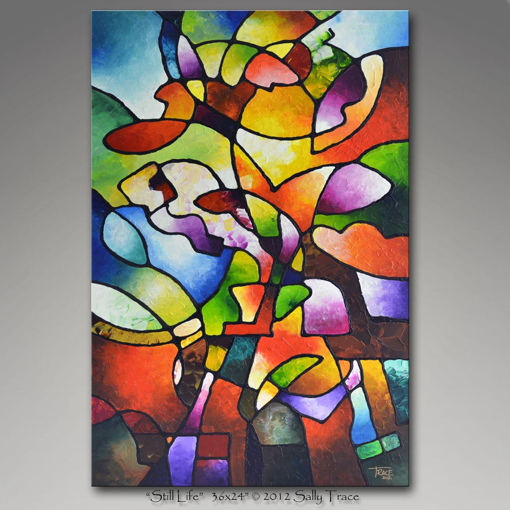 Geometric floral abstract art giclee on canvas from my for Best glass painting designs