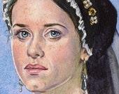 Original Watercolor Painting Art Anne Boleyn Wolf Hall Tudor Portrait 4 x 6 Inches