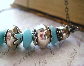Larimar Necklace, Sterling Silver, Larimar Stones, Bali Beads, Balinese Silver, Ornate Sterling Beads, Oxidized Sterling, Womens Jewelry