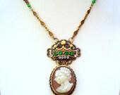 Vintage Queen Elizabeth and Prince Phillip Cameo Pendant Necklace