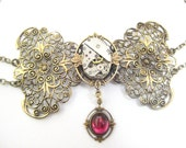 Ruby Wine  Bow ... Steampunk Filigree Bow Choker, Victorian Steampunk BowTie  One of a Kind Creation