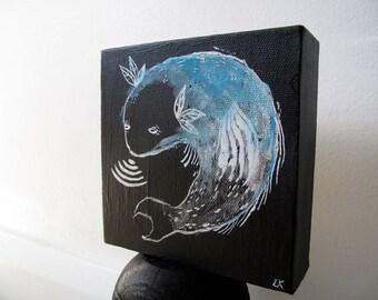 Radar Fish Square Canvas / blue white silver