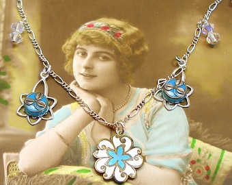 Antique BUTTON Necklace,Turquoise flowers in glass & enamel on sterling chain, one of a kind jewellery.